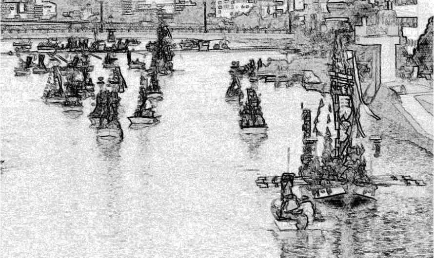 【絵画調変換No132】日本三大船神事ホーランエンヤ渡御祭/鉛筆画