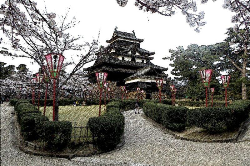 【絵画調変換No002】松江城本丸の桜/色鉛筆画