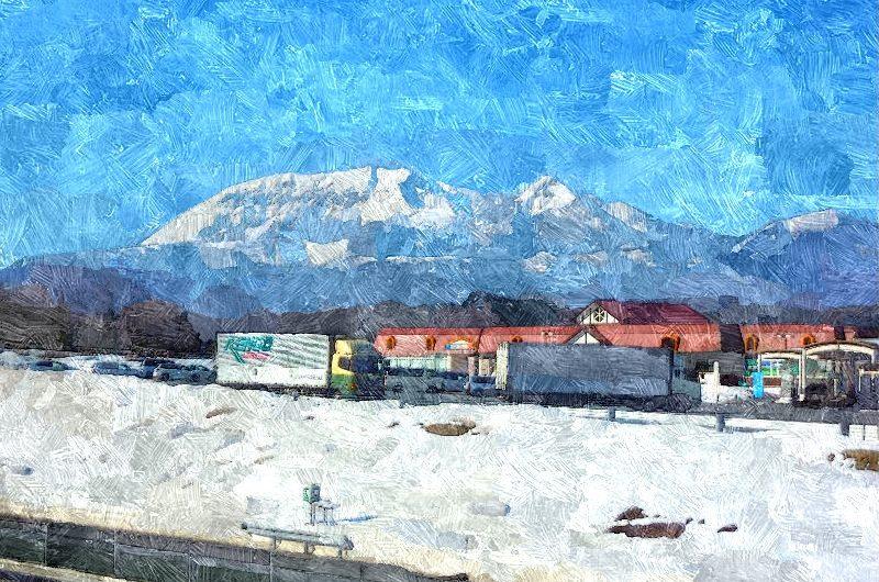 【絵画調変換No009】大山雪景色、蒜山高原下りSAにて/油絵