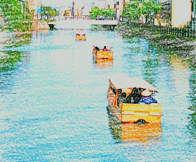 【絵画調変換No010】京橋川を行く堀川遊覧船/クレヨン画