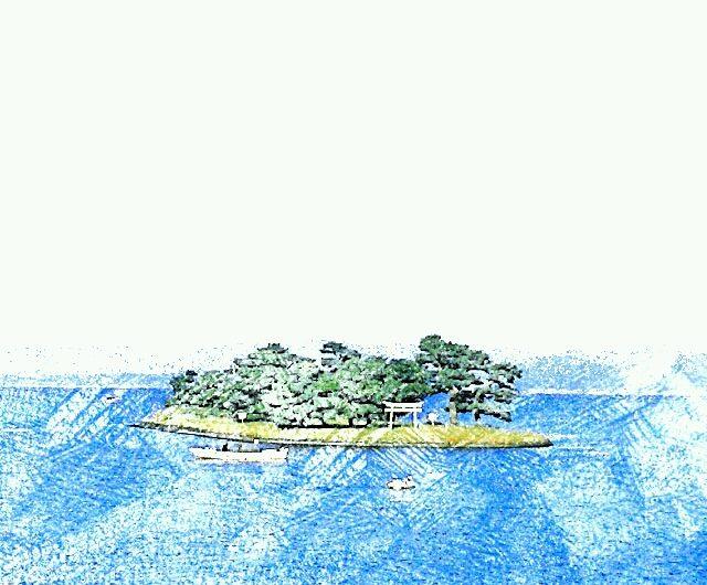 【絵画調変換No011】宍道湖嫁ヶ島/色鉛筆画