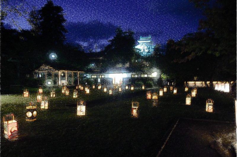 【絵画調変換No013】松江水燈路2014/色鉛筆画
