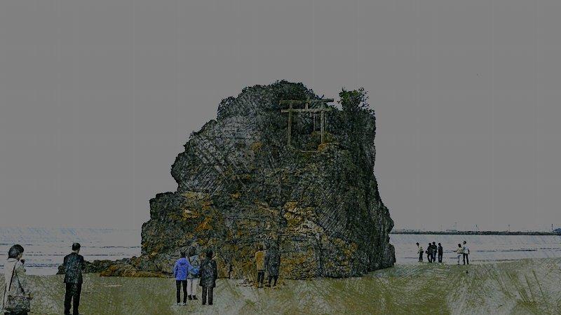 【絵画調変換No016】出雲稲佐の浜にて/色鉛筆画