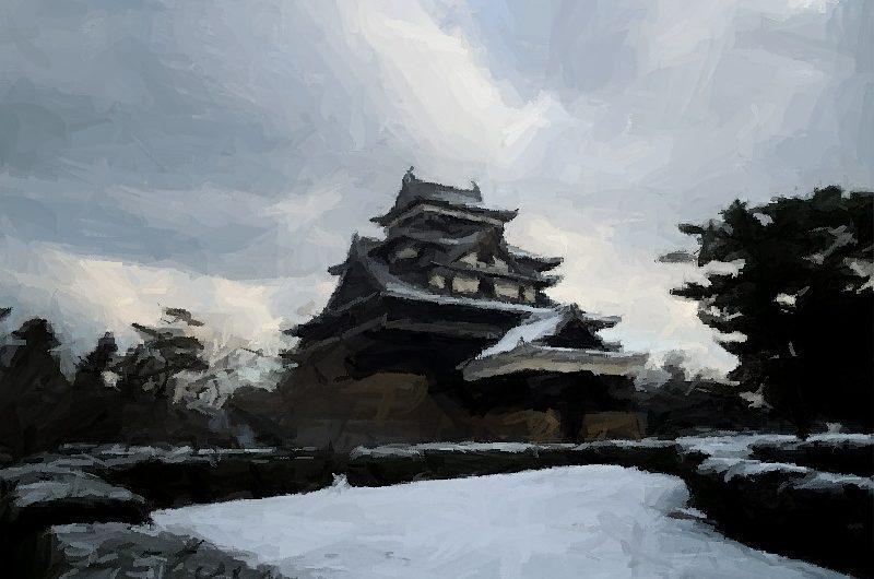 【絵画調変換No027】松江城雪景色/ブラシストローク