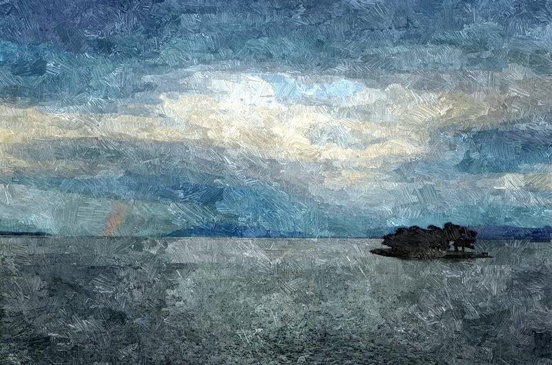 【絵画調変換No028】宍道湖と虹/油絵