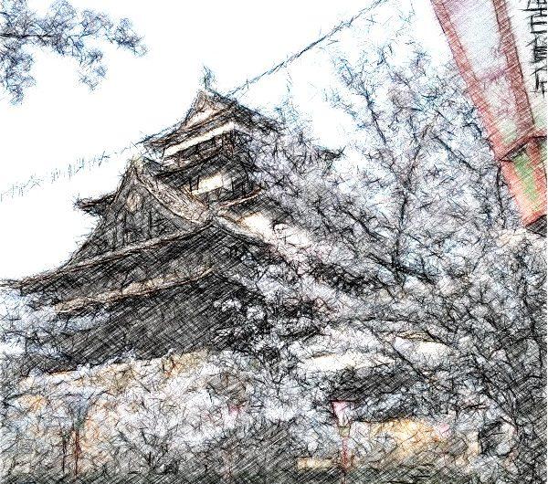 【絵画調変換No033】松江城天守とサクラ2015/色鉛筆