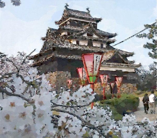 【絵画調変換No035】松江城お城まつり2015/水彩画