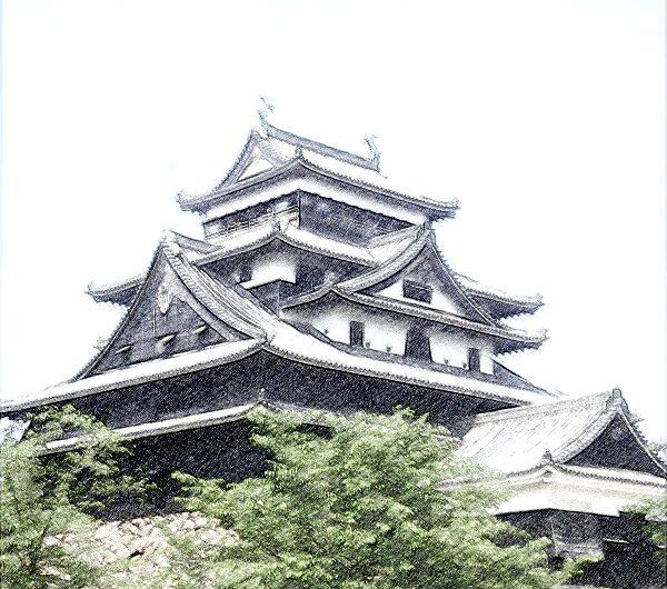 【絵画調変換No038】新緑と松江城/色鉛筆画