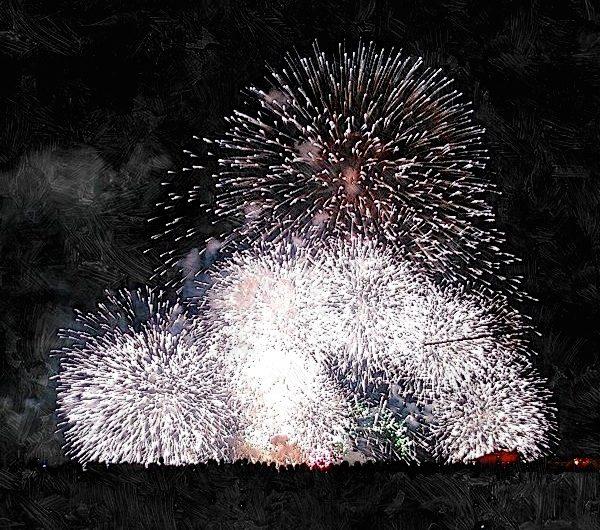 【絵画調変換No048】松江水郷祭花火2015/油絵風