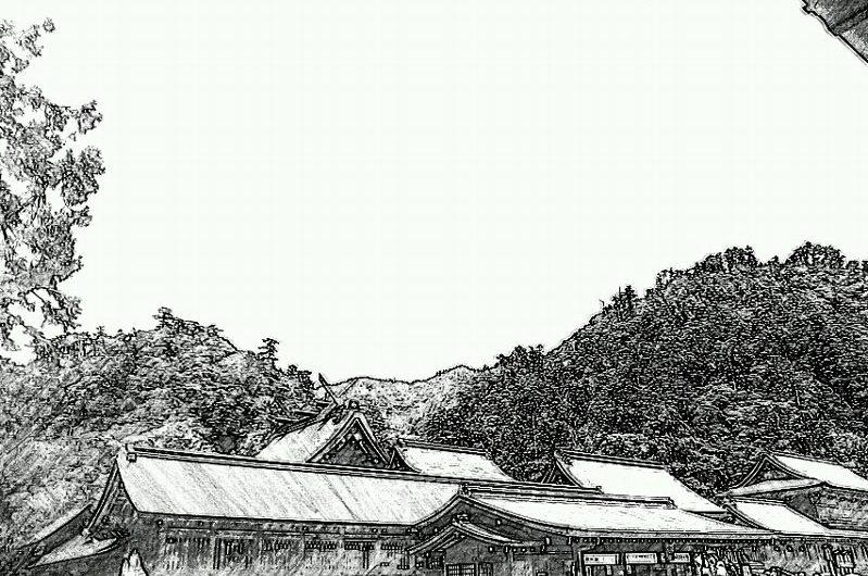 【絵画調変換No051】出雲大社本殿/鉛筆画