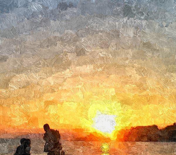 【絵画調変換No052】宍道湖の夕景/油絵風