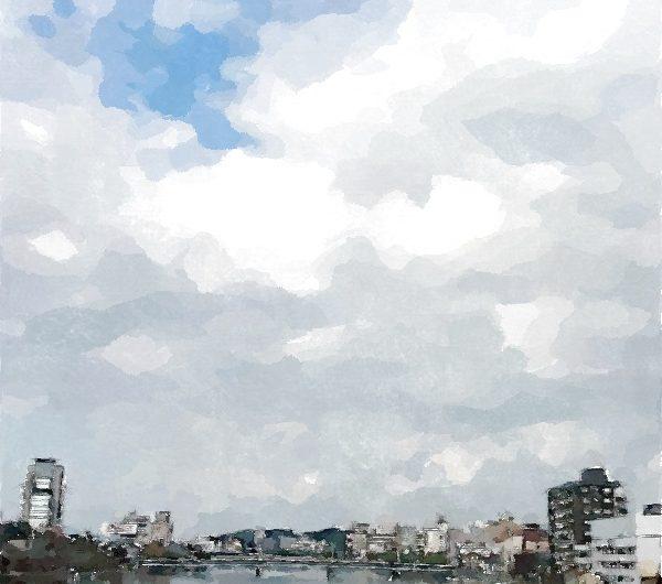 【絵画調変換No053】松江大橋川/水彩画