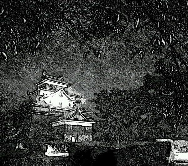 【絵画調変換No054】夜の松江城/鉛筆画