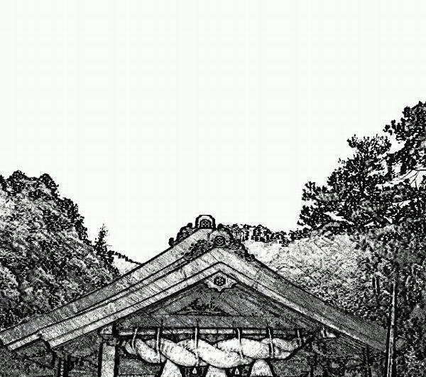 【絵画調変換No059】出雲大社神楽殿/鉛筆画
