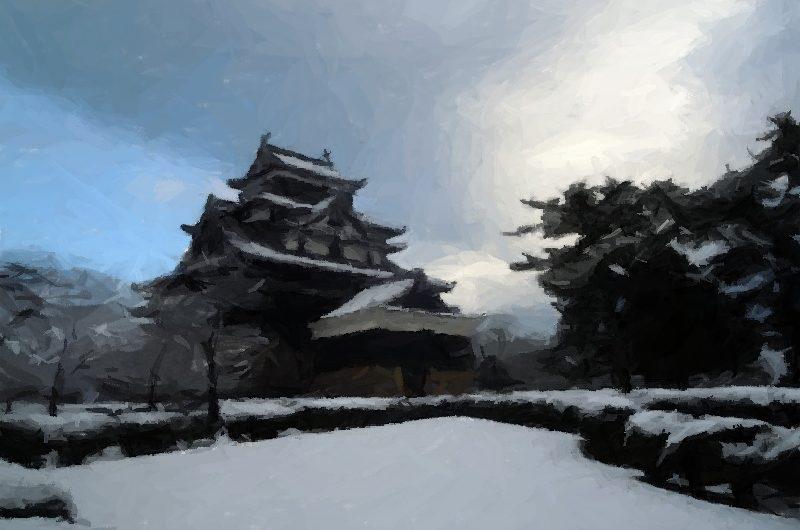 【絵画調変換No065】松江城雪景色/ブラシストローク