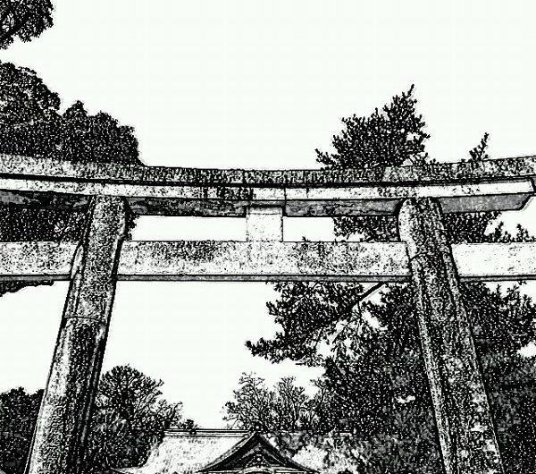 【絵画調変換No068】松江神社/鉛筆画