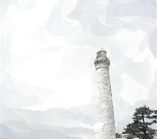 【絵画調変換No078】日御碕灯台/水彩画