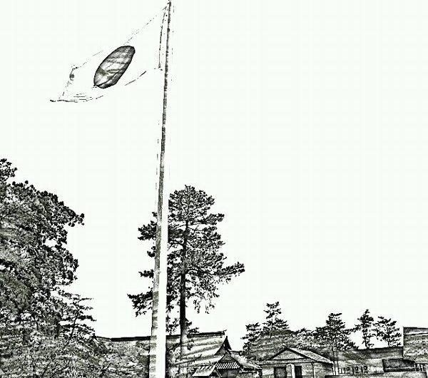 【絵画調変換No083】出雲大社の国旗/鉛筆画