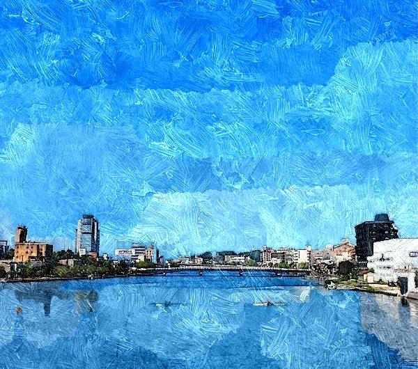 【絵画調変換No086】快晴の松江、大橋川/油絵