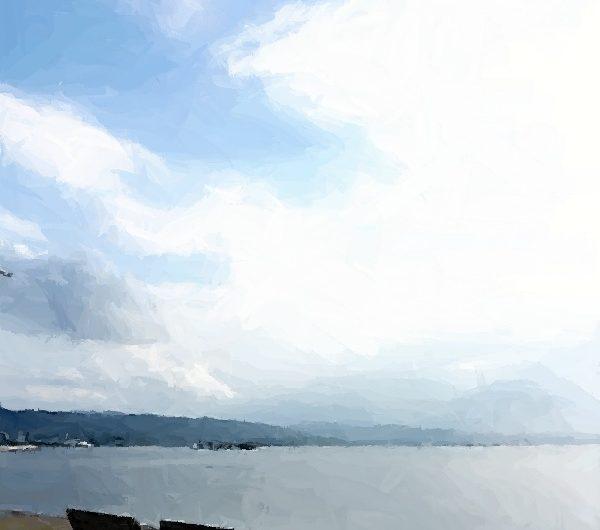 【絵画調変換No087】宍道湖岸の風景/ブラシストローク