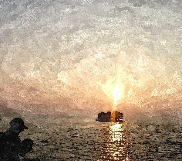 【絵画調変換No098】宍道湖嫁が島夕景/油絵
