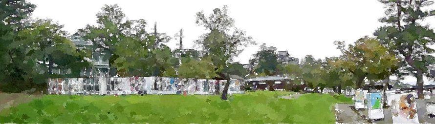 【絵画調変換No100】パノラマで見る松江水燈路2016/水彩画