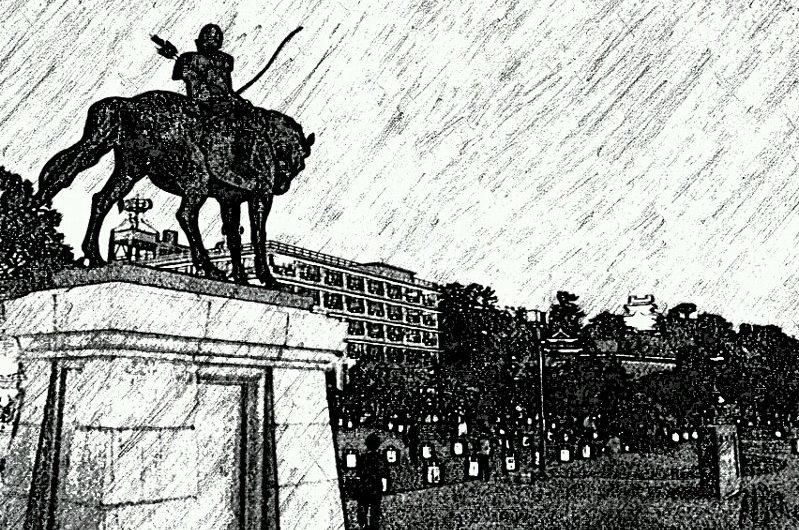 【絵画調変換No106】松平直政公銅像と松江城/鉛筆画