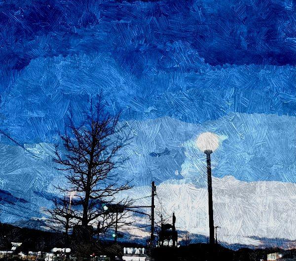 【絵画調変換No107】松江市街地の夕暮れ/油絵