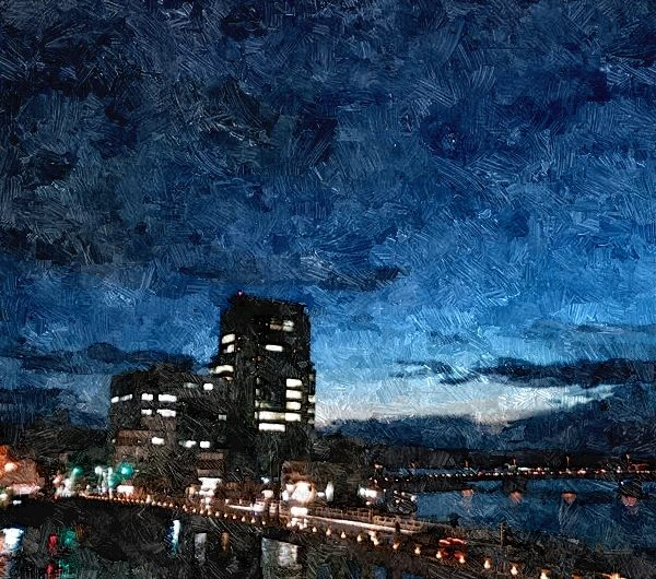 【絵画調変換No108】松江大橋夜景/油絵