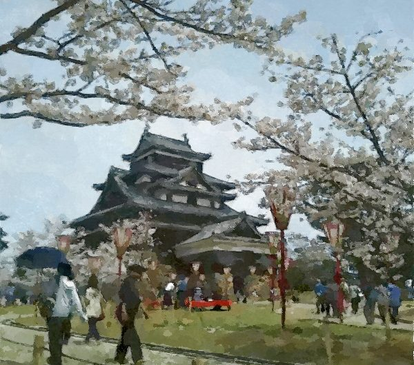 【絵画調変換No006】松江城本丸サクラ2017/水彩画