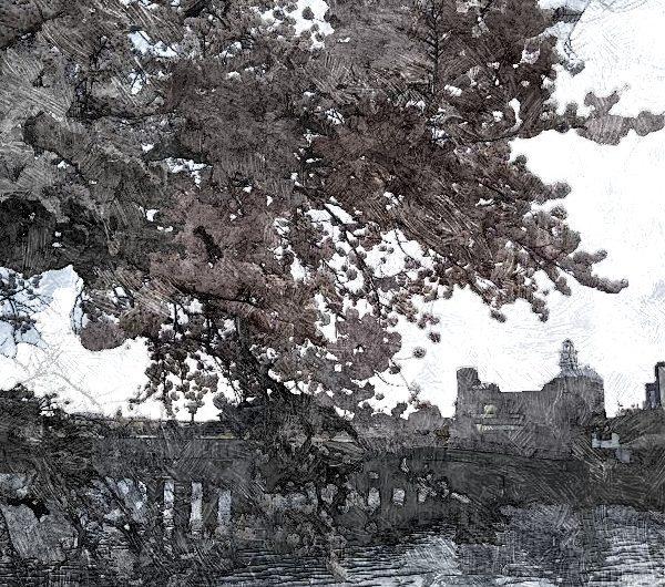 【絵画調変換No007】源助公園の桜と松江大橋2017/油絵