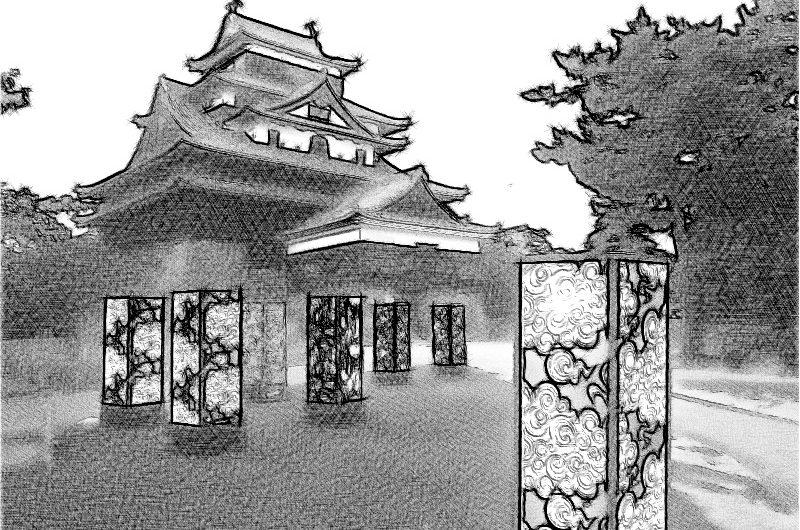 【絵画調変換No080】松江城で松江水燈路2017/鉛筆画