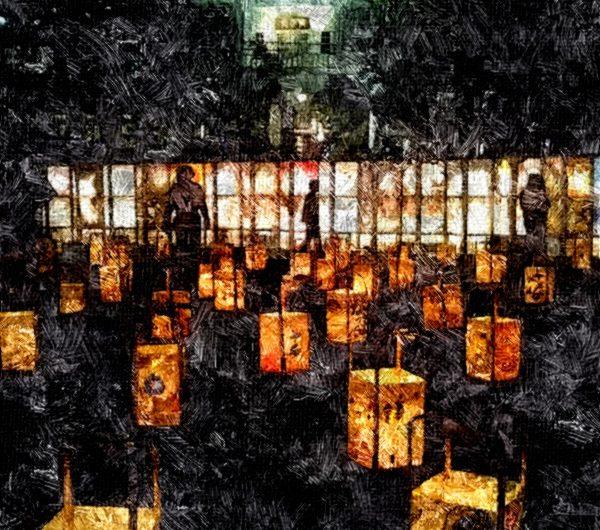 【絵画調変換No092】松江水燈路2017と興雲閣/油絵