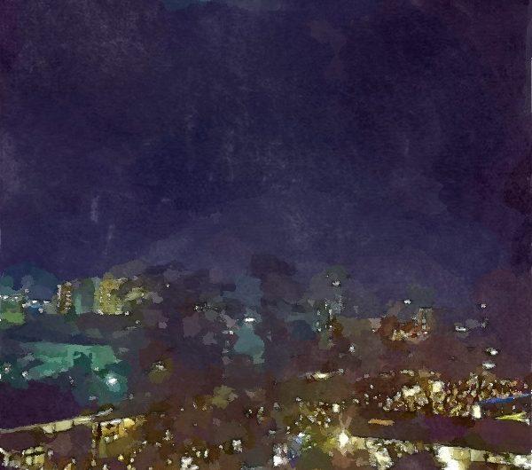 【絵画調変換No093】松江城本丸から見下ろす松江水燈路2017/水彩画