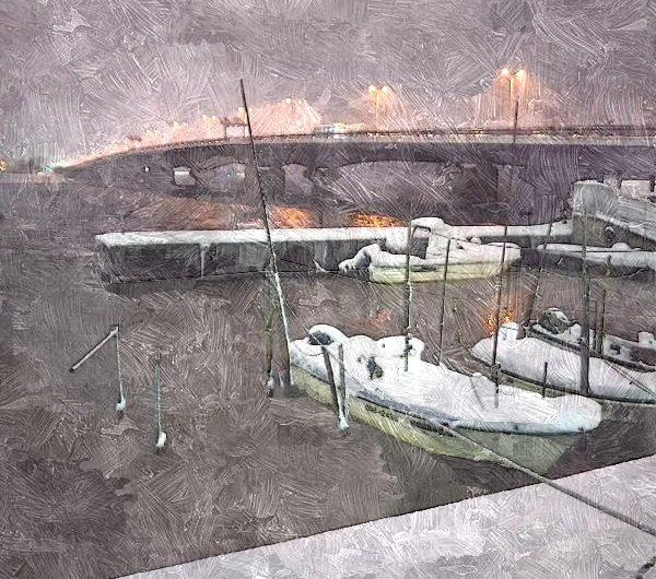 【絵画調変換No118】宍道湖大橋雪景色/油絵画
