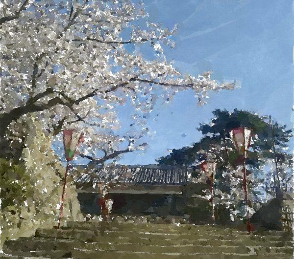 【絵画調変換No120】松江城本丸へ続く石段/水彩画