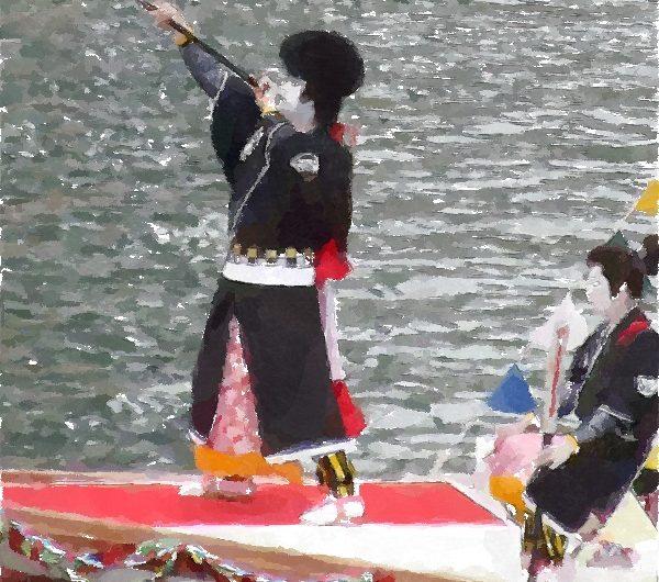 【絵画調変換No130】日本三大船神事ホーランエンヤ渡御祭/水彩画
