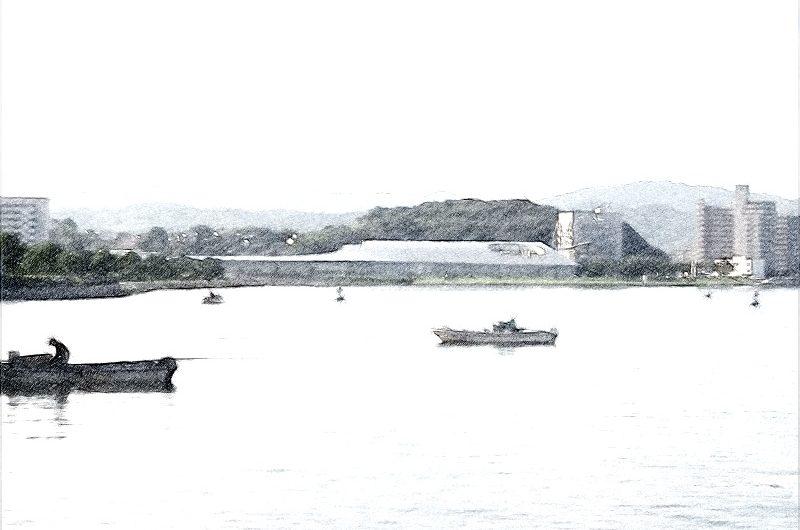【絵画調変換No134】宍道湖シジミ漁/色鉛筆画