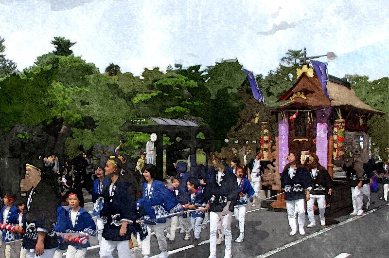 【絵画調No137】松江鼕行列、北堀町の鼕宮/水彩画