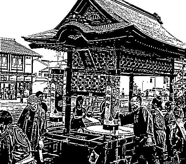 【絵画調No138】松江鼕行列、北殿町の鼕宮/インク画