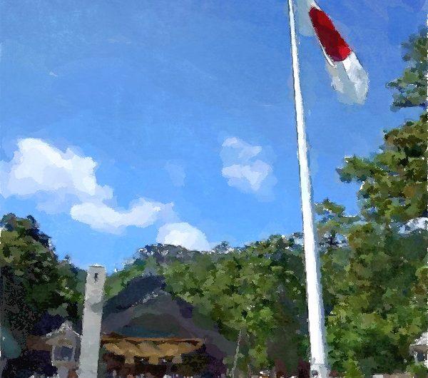 20130616出雲大社神楽殿前の国旗/水彩画