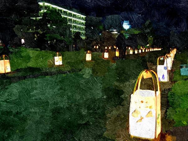 【絵画調変換No015】松江水燈路2014~結いとうろ/油絵