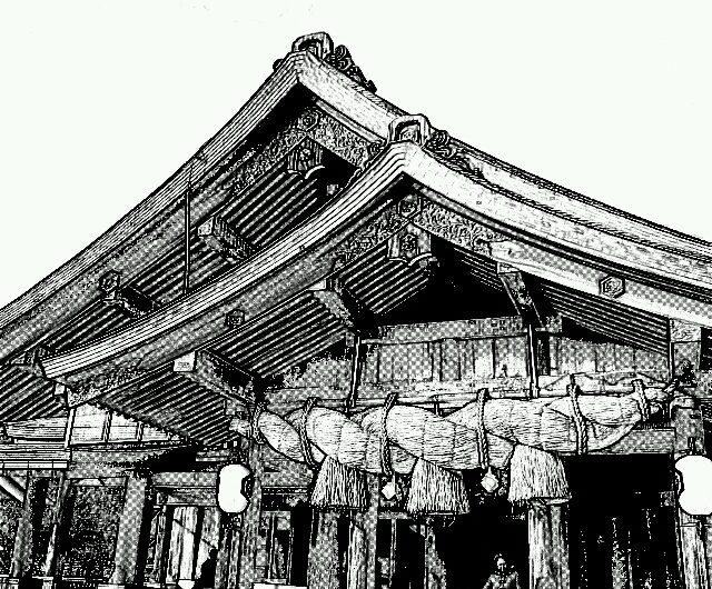20150124出雲大社拝殿前/鉛筆画