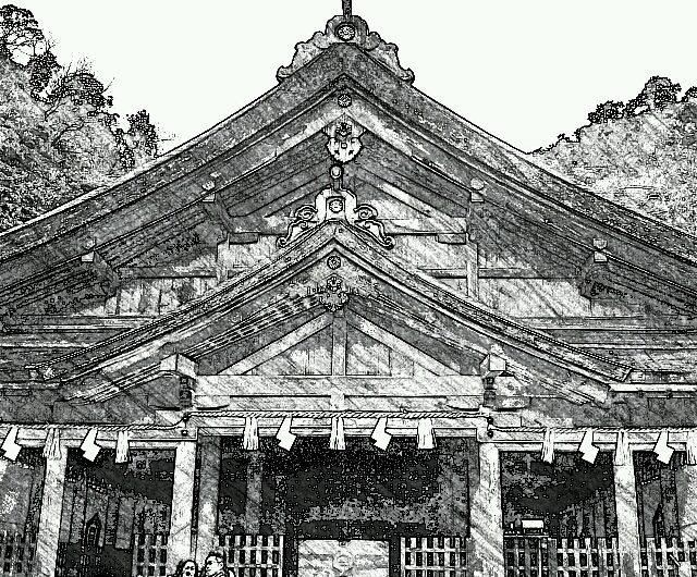 【絵画調変換No025】美保神社/鉛筆画