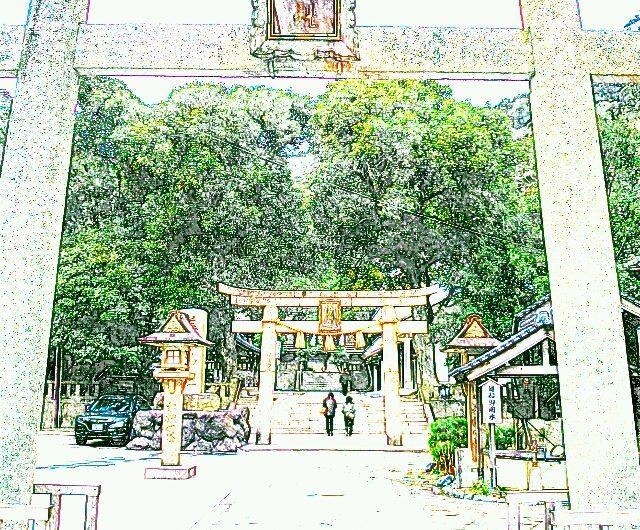 【絵画調変換No026】美保神社鳥居/色鉛筆画