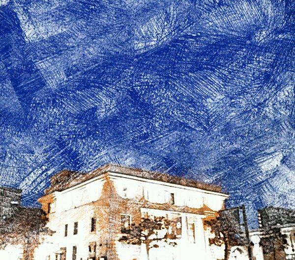 【絵画調変換No040】カラコロ工房の夜/色鉛筆画