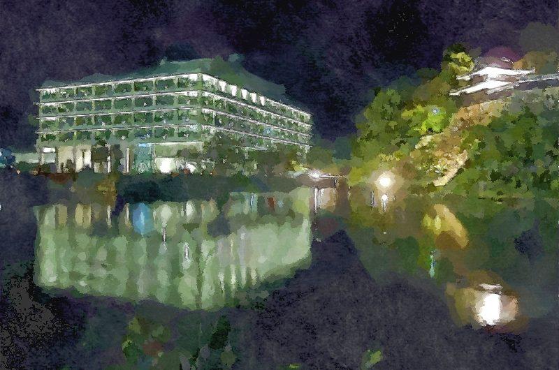 【絵画調変換No057】県庁庭園水燈路2015/水彩画