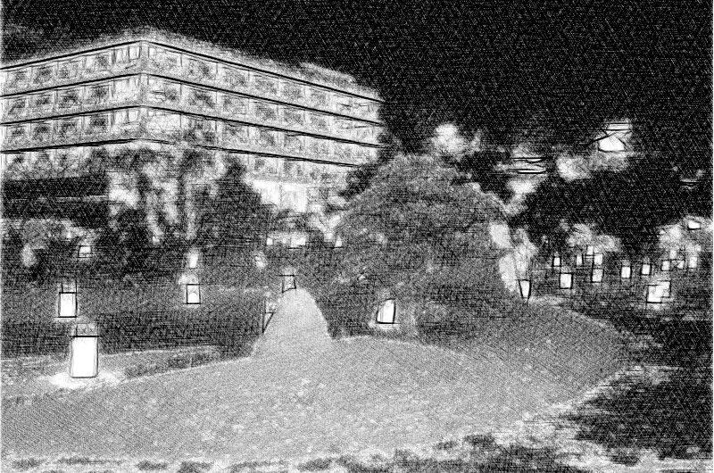 【絵画調変換No058】松江水燈路2015/鉛筆画