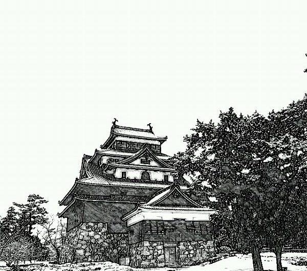 20160207松江城天守/鉛筆画