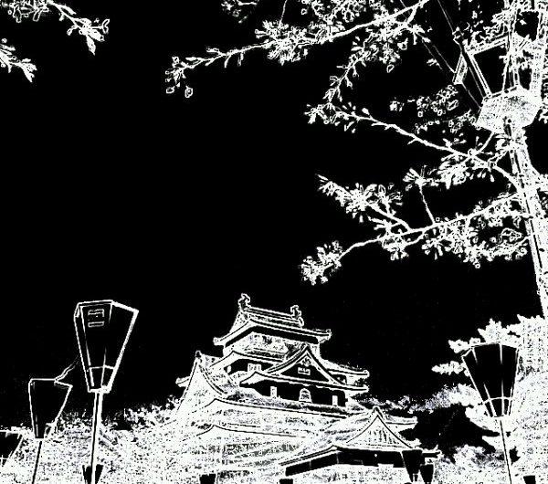 【絵画調変換No075】松江城の夜桜/黒板画